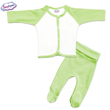 Бебешки сет ританки и жилетка в зелено и бяло