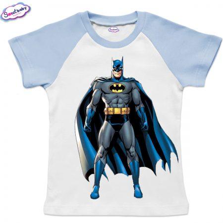 Детска тениска в бяло и синьо Батман с наметало