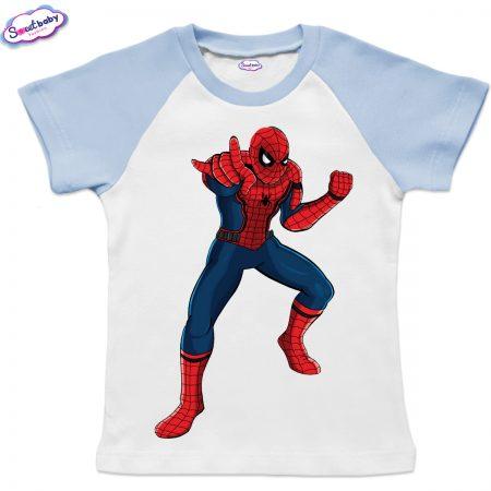 Детска тениска в бяло и синьо Спайдърмен