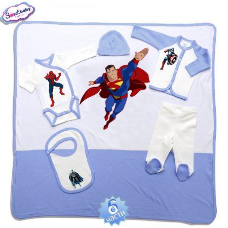 Комплект за изписване в синьо Супергерои 6 части