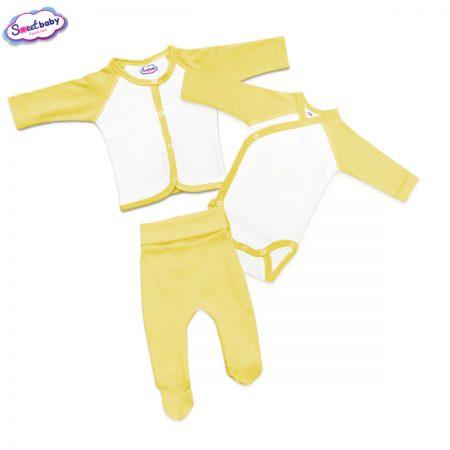 Бебешки сет ританки боди и жилетка в жълто