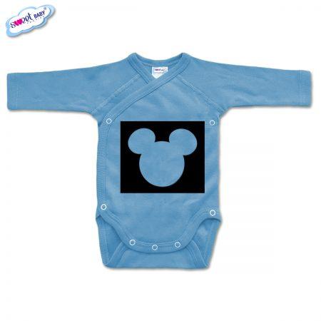 Бебешко боди прегърни ме в синьо Мики маска