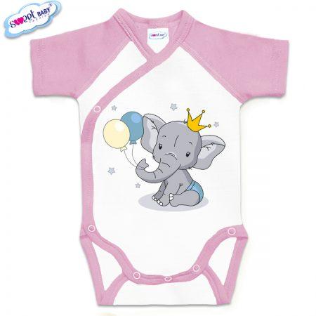 Бебешко боди розово и бяло Слонче с коронка