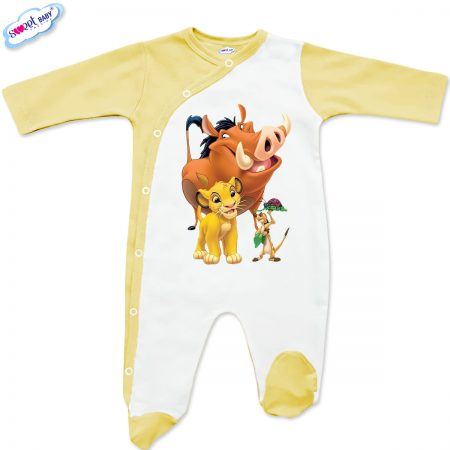 Бебешко гащеризонче в бяло и жълто Hakuna-matata