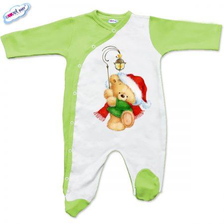 Бебешко гащеризонче в бяло и зелено Коледен мечок