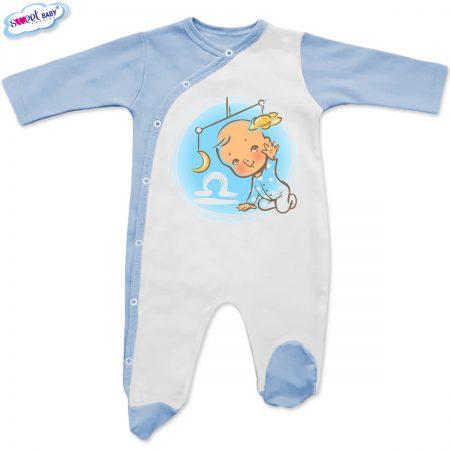 Бебешко гащеризонче в бяло и синьо Везни