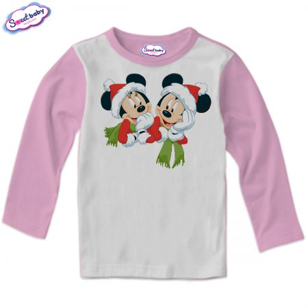 Детска блузка в розово Мики и мини с шалчета