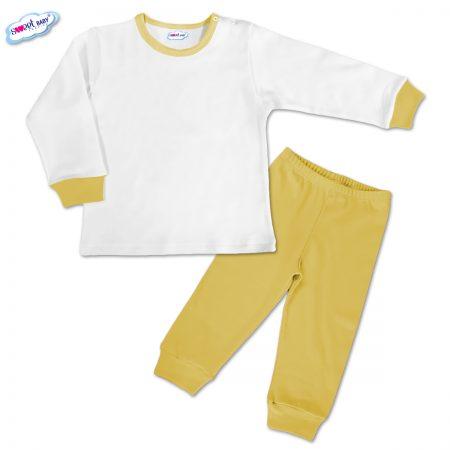 Детска пижамка в жълто и бяло