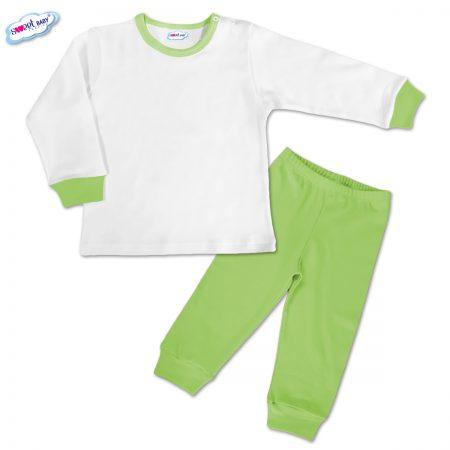 Детска пижамка в зелено и бяло