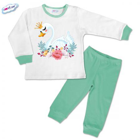Детска пижамка в мента Лебед