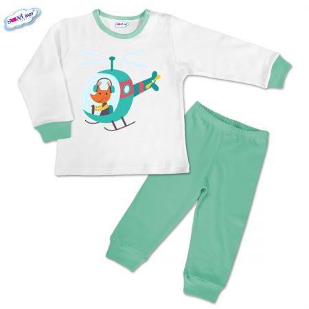 Детска пижамка в мента Лис хеликоптер