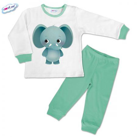 Детска пижамка в мента Срамежливо слонче