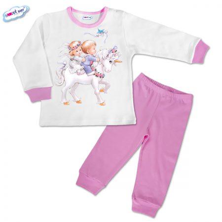 Детска пижамка в розово Деца и еднорог