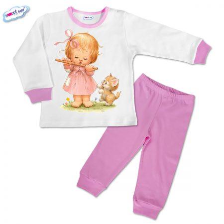 Детска пижамка в розово Момиченце и коте