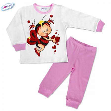 Детска пижамка в розово Пчеличка със сърчица