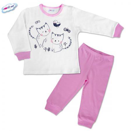Детска пижамка в розово Рисувани котенца