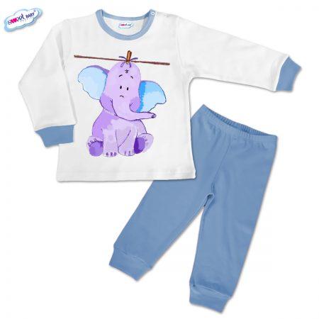 Детска пижамка в синьо Слонче на въже