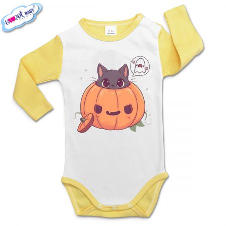 Бебешко боди в жълто Halloween коте