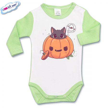 Бебешко боди в зелено Halloween коте