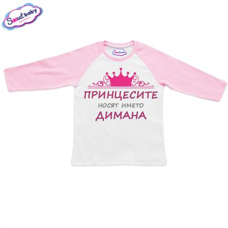 Блузка с дълъг ръкав в розово Димана