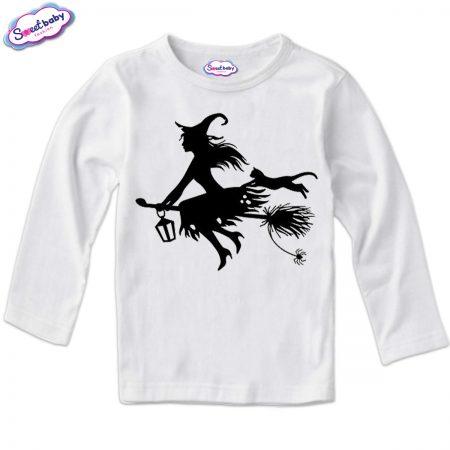 Детска блузка в бяло Вещица Halloween
