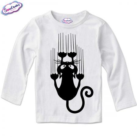 Детска блузка в бяло Черно коте