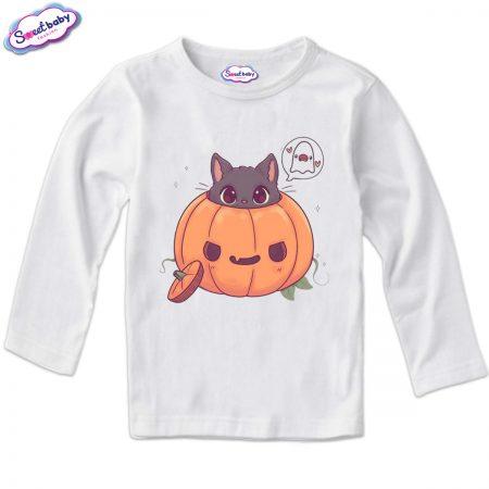 Детска блузка в бяло Halloween коте