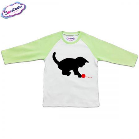 Детска блузка в зелено Коте и прежда