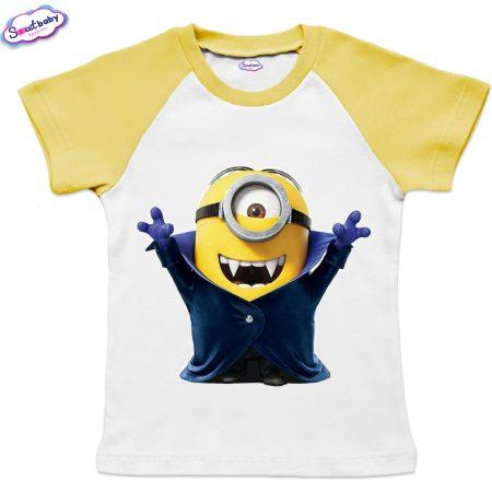 Детска тениска в жълто Миньон Дракула