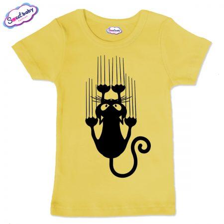 Детска тениска в жълто Черно коте