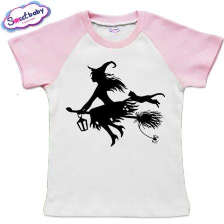 Детска тениска в розово Вещица halloween