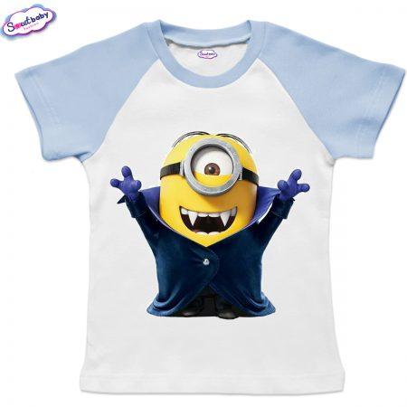 Детска тениска в синьо Миньон Дракула