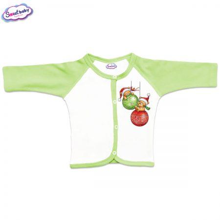 Бебешка жилетка в зелено Коледни топки