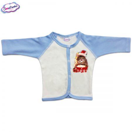 Бебешка жилетка в синьо Коледно млекце