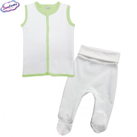 Бебешки сет в бяло и зелено