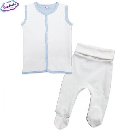 Бебешки сет в бяло и синьо