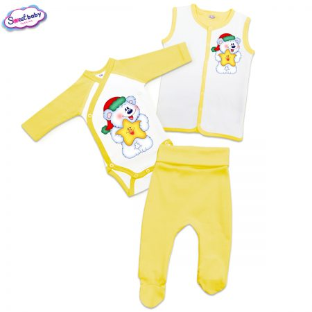 Бебешки сет в жълто Мече със звездичка