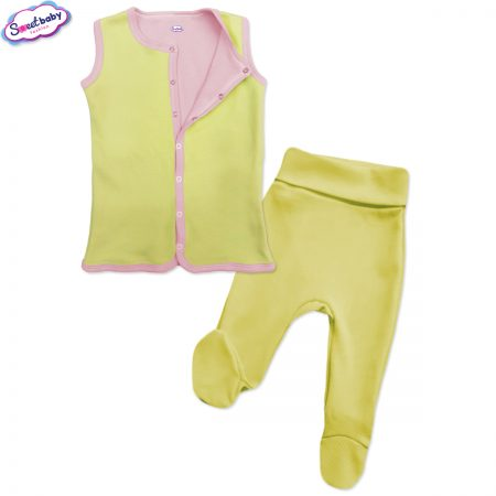 Бебешки сет в жълто и розово