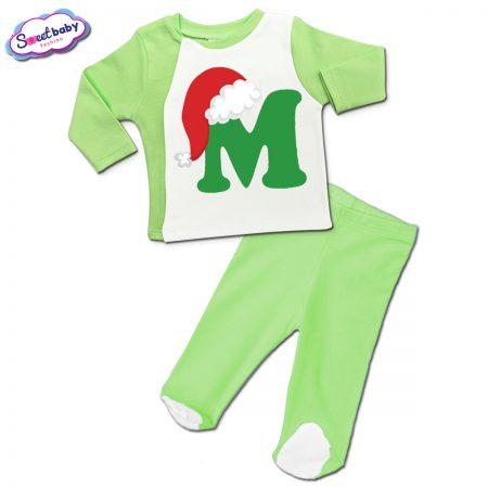 Бебешки сет зелено М шапка