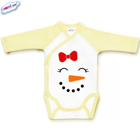 Бебешко боди жълто Снежен човек маска