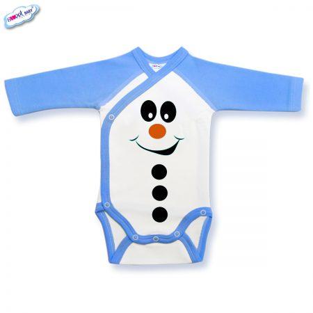 Бебешко боди синьо Снежен човек копчета