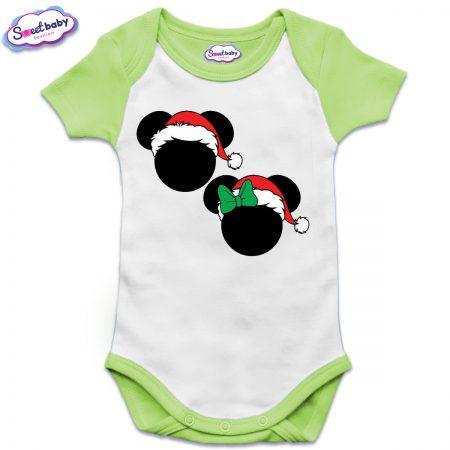 Бебешко боди US в зелено Коледни Микимаски