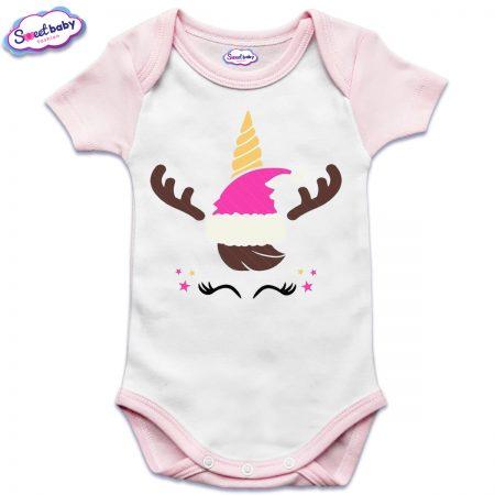 Бебешко боди US в розово Коледен еднорог