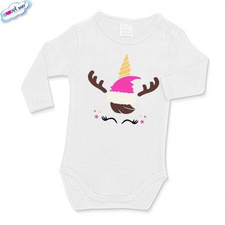 Бебешко бяло боди Коледен еднорог маска