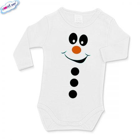 Бебешко бяло боди Снежен човек копчета