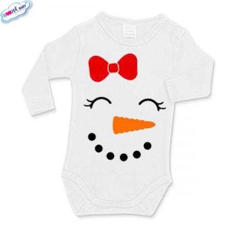 Бебешко бяло боди Снежен човек маска
