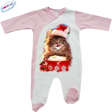 Бебешко гащеризонче в розово Коледно млекце