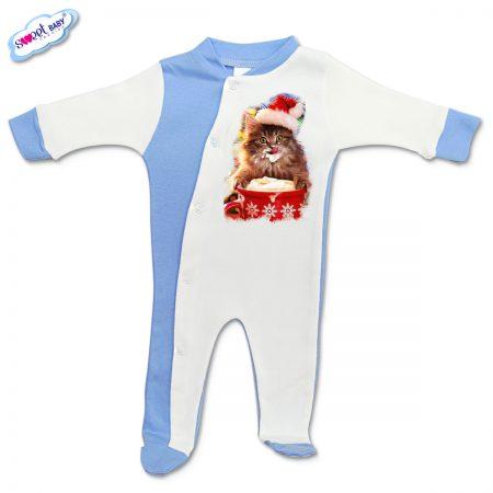 Бебешко гащеризонче синьо Коледно млекце