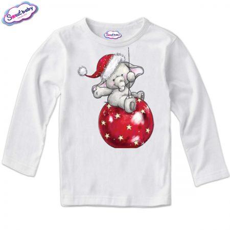 Детска блузка в бяло Коледни топки и слонче