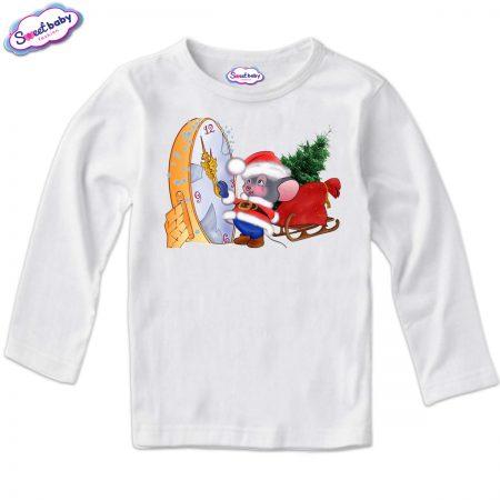 Детска блузка в бяло Коледно мишле